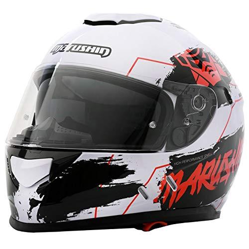 Marushin 889 Comfort Warrior Motorrad Helm Integralhelm sportliche Tourenfahre, XL, Weiß/Rot