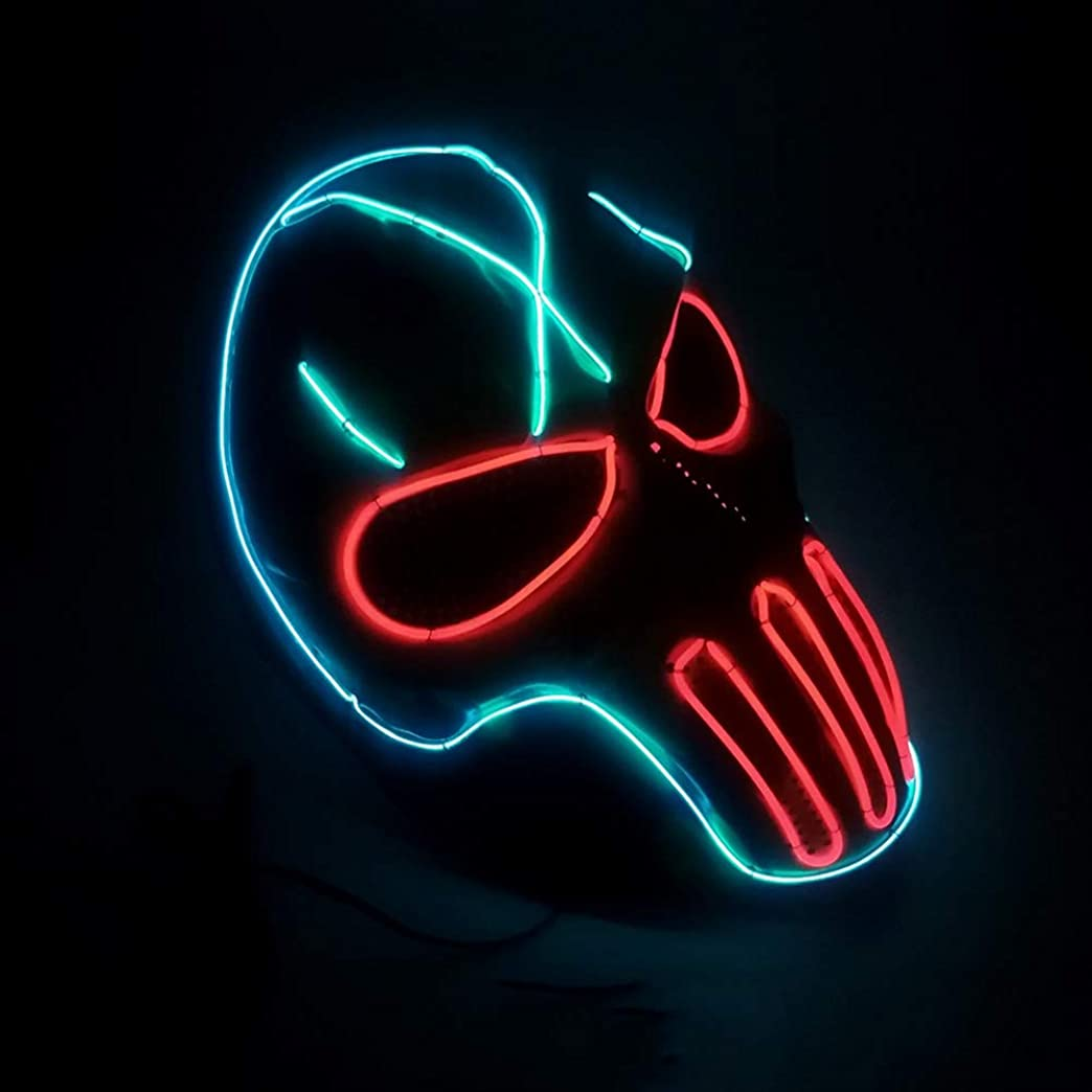 キャッチ作動する騒乱ハロウィン テロ CS Wildfire LED マスク 2個 エルワイヤ イルミネーション 化粧 コスプレ プロム マスク (18×18Cm) MAG.AL
