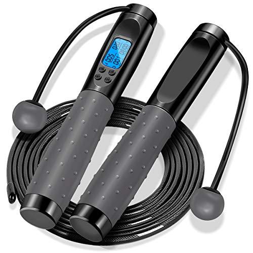 Faneam Springseil Erwachsene Fitness Seilspringen mit Timer Zähler Länge Einstellbar PVC Stahlseil Speed Rope, Gut Qualitativen Kugellagern & Anti-Rutsch Griffe,für Boxen,MMA, Crossfit,3M