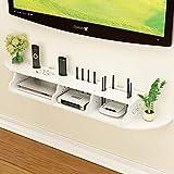 JJYY WiFi Router Set Top Box Estante de Almacenamiento Multimedia Estante de TV montado en la Pared Estante de Pared Estante Flotante Consola de TV Soporte de TV Blanco (Color: A)