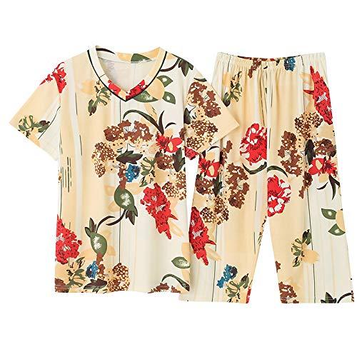DFDLNL Conjunto de Pijamas de Mujer de Verano Fino v-Nexk Estampado de Manga Corta Floral Ropa de Dormir Casual Homewear Pijamas Femeninos 4XL