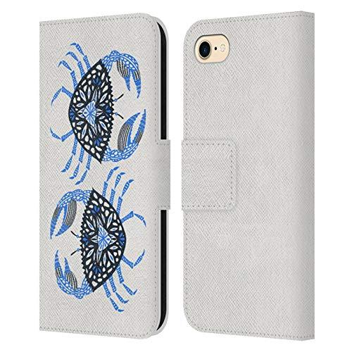 Head Hülle Designs Offiziell Zugelassen Cat Coquillette Blau Krabbe Meer Leder Brieftaschen Handyhülle Hülle Huelle kompatibel mit Apple iPhone 7 / iPhone 8 / iPhone SE 2020