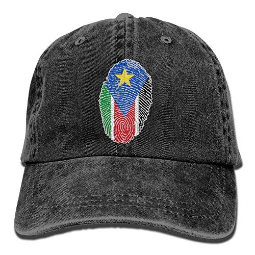 Ahdyr Gorra de béisbol Unisex Sombrero de Mezclilla Bandera de Sudán del Sur Huella Digital Ajustable Snapback Hiphop Cap-Negro