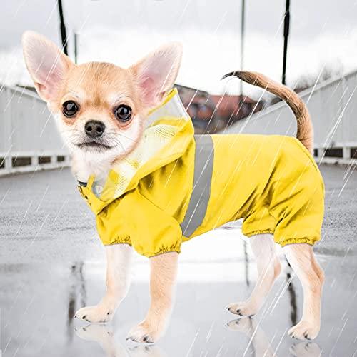 Idepet Hunderegenmantel,Wasserdichter Regenponcho für Hunde Winddichte Regenjacke für Welpen mit Kapuze und Gurtloch für kleine, mittelgroße Hunde Chihuahua Teddy Sommerkleidung