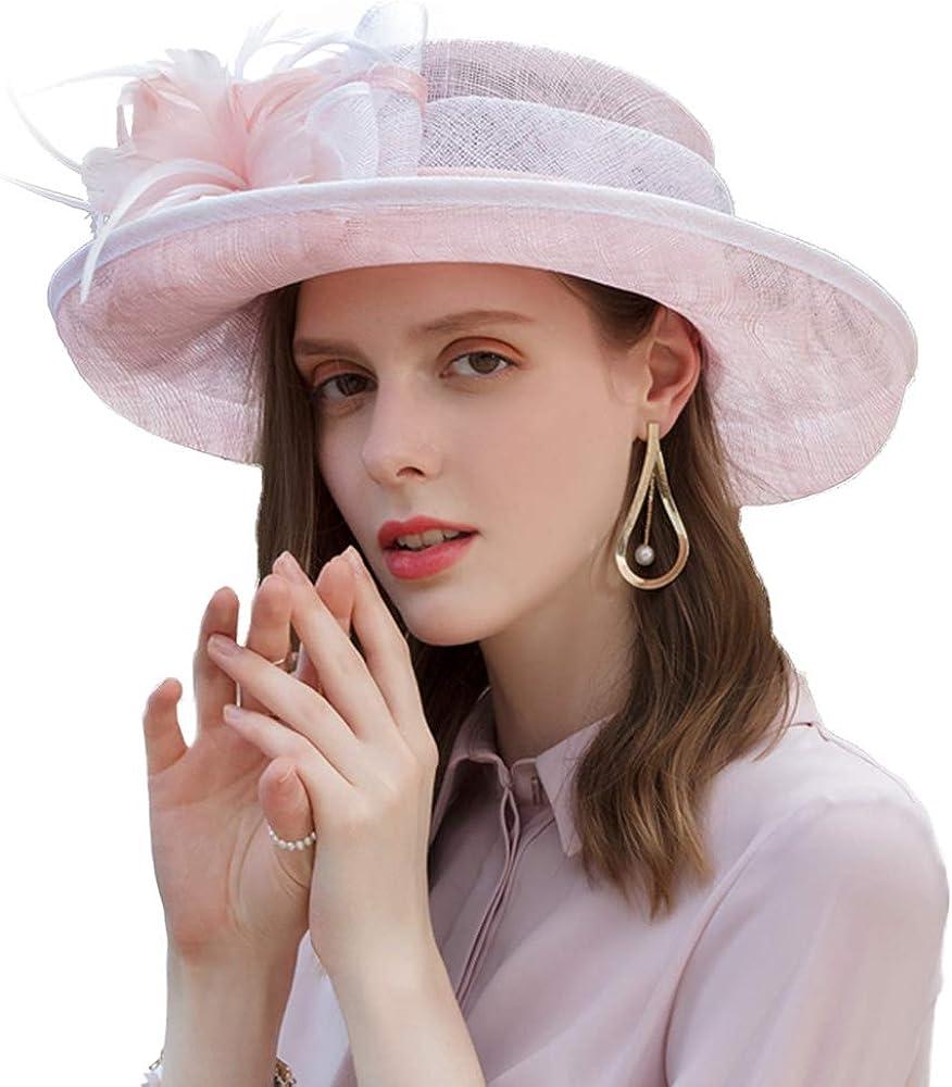 F Discount mail order FADVES Wide Brim Selling Fascinator Hat Vintage Sinamay Floral Fedora