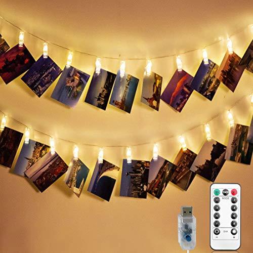 LED Klammern Lichterkette für Fotos, 40 LEDs Foto Clips Lichterkette für Zimmer Deko, LED Fotoclip klammerleuchte für Fotos, Lichterkette für Bilder Wohnzimmer, Weihnachten, Hochzeiten Warmweiß
