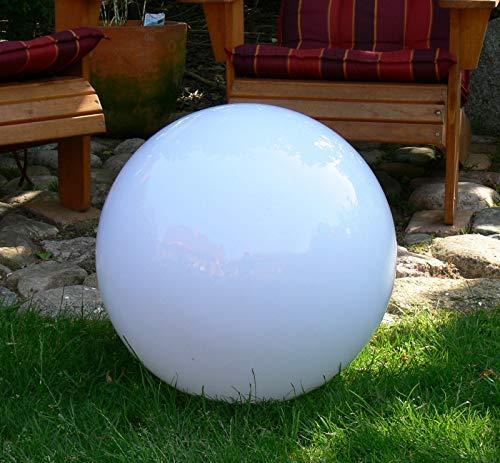 Außen-Garten-Kugel-Leuchte-Lampe Marlon D:50cm Kugel Kunststoff weiß mit Erdspieß, E27x1, IP44 Dekorations-Wege-Pfad-Leuhchte-Lampe