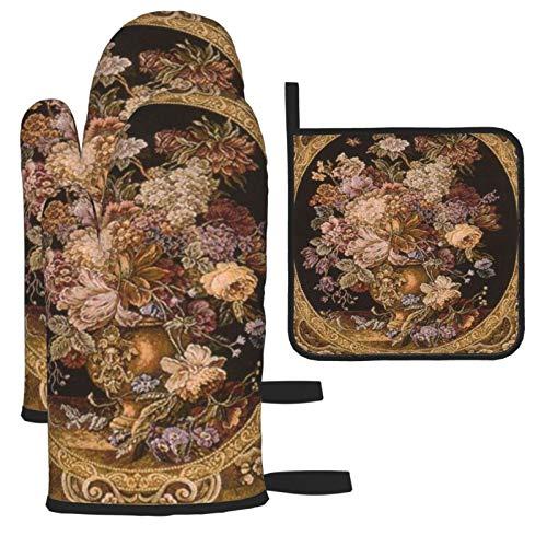 Zhark 3 manoplas de horno resistentes al calor y soportes para ollas, forro suave con superficie antideslizante, guantes de cocina para barbacoa, hornear, hermoso cojín con diseño de tapiz antiguo