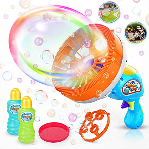 WisToyz Bubble Machine Bubble Blower Giant & Small Bubble Maker with 2 Bubble Wands, Bubble Machine for Kids Dip &Press Bubble Gun 800+ Bubbles Per Minute 2 x 8 oz Bubble Solution Included