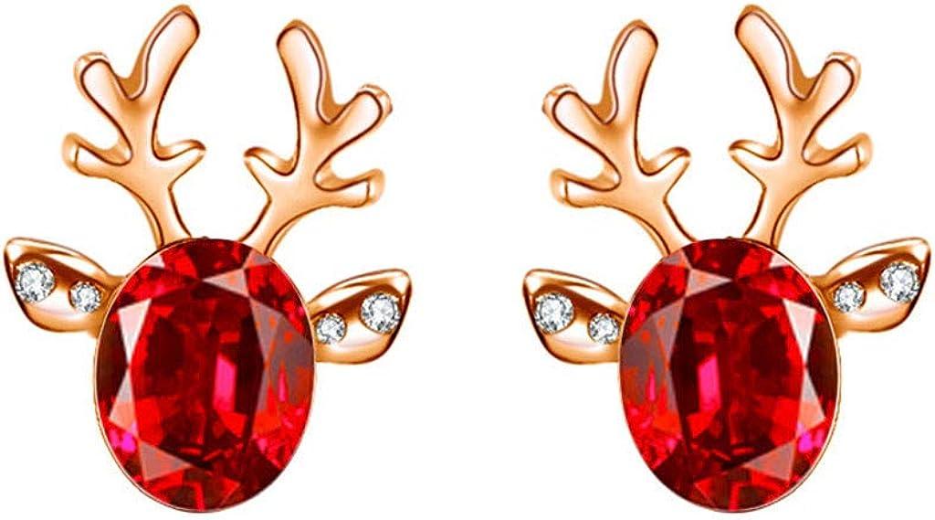 Womens Christmas Earrings Jewelry Crystal Studs Xmas Reindeer Holidays Earrings Antler Deer Earpin Boho Ear Crawler Wrap Earring Bohemian Jewelry Gift