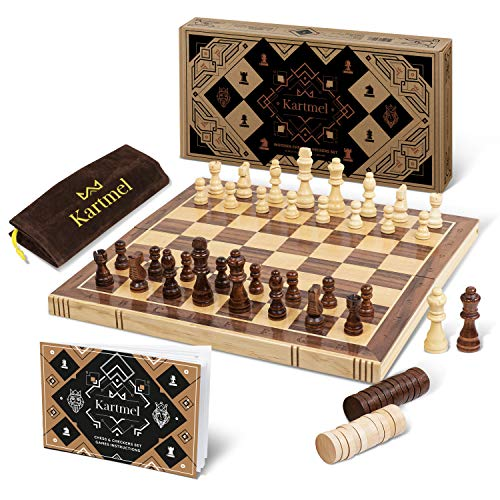 Magnetic Wooden Chess and Checkers Set - Foldable Travel Chess Set Game - Handmade - Chess Board for Adults - Checkers Game for Kids - Staunton Style Pieces - Chess Set for Kids and Adults - 15' x 15'