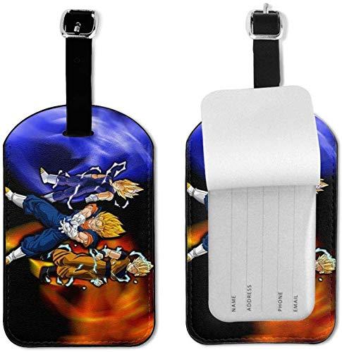 Dragon Ball Z - Etiquetas de Equipaje con Correa Ajustable de Piel para Equipaje o Maletas - Juego de Etiquetas de identificación para Viajes