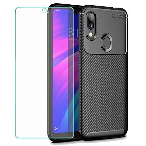Wanxideng - Xiaomi Redmi 7 Cubierta + Película protectora de vidrio templado, [Textura de fibra de carbono] Estuche resistente para armadura Cubierta de silicona suave y delgada - Negro