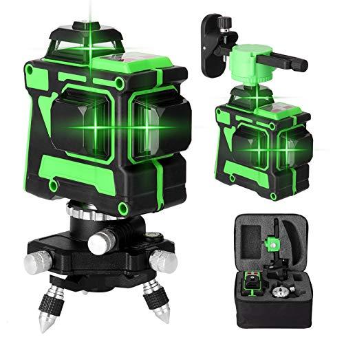 Niveau Laser 360° 3D 12 Lignes KKmoon® Outil de Niveau Laser à Lignes Horizontales Verticales avec Batterie au Lithium Intégrée et Support Rotatif, Auto-nivelant avec Support Mural et Sac de Rangement