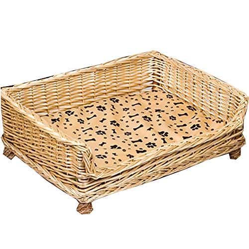 CAOLU cama de mimbre para mascotas/cama de perro/cama de gato color original de madera