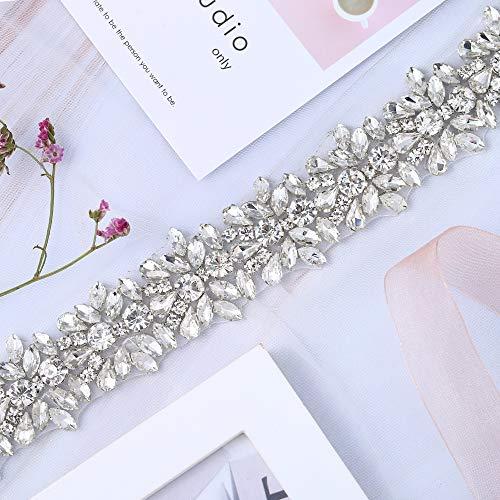 XINFANGXIU 1 Yard Silver Wedding Dress Applique Crystals Rhinestones Applique Bridal Belt for Women Formal Prom Evening