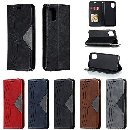 SNOW COLOR Coque Galaxy A51 Portefeuille, en Cuir Flip Case pour Bumper Protecteur Magnétique Fente Carte Housse Cover Coque pour Samsung Galaxy A51 - COYKB040108 Noir