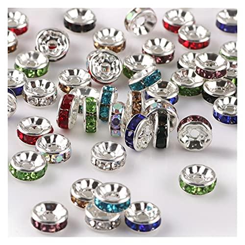 BOSAIYA EA01 50 unids/Lote 6 mm Rhinestone Rondelle Crystal Redondo Perla espaciadora Suelta para la joyería Que Hace Bricolaje Pulsera Collar Accesorios Tl513 (Color : Mix R)