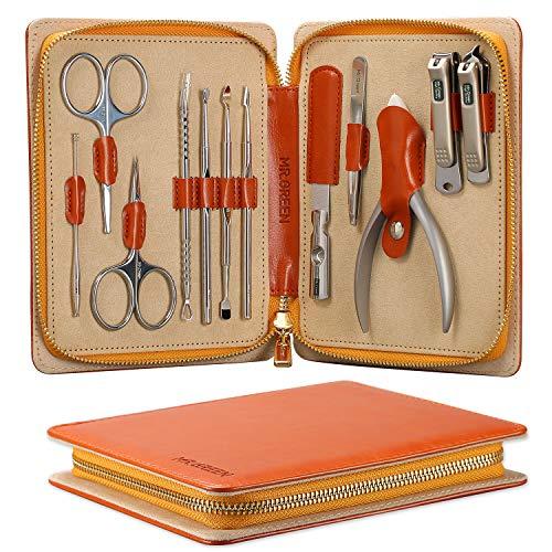 Cortaúñas Gift Set, acero inoxidable Professional Cortaúñas Manicura Pedicure & Grooming Kits con estuche de cuero (Mr-6012)