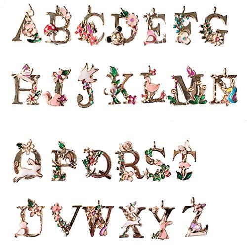 Healifty — Pulseira com pingente de letras inglesas do alfabeto A-Z para fazer joias