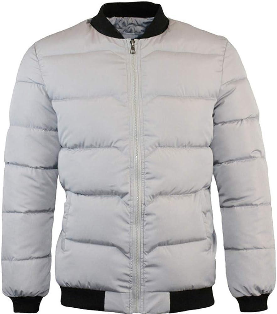 Men Autumn Casual Daily Coats Men's Winter Pure Color Zipper Stand Collar Baseball Coat Cotton Outwear Tops
