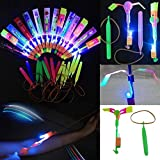 Tzou 12pc Amazing Led Light Arrow Rocket Helicopter Flying Toy Party Fun Gift Elastic