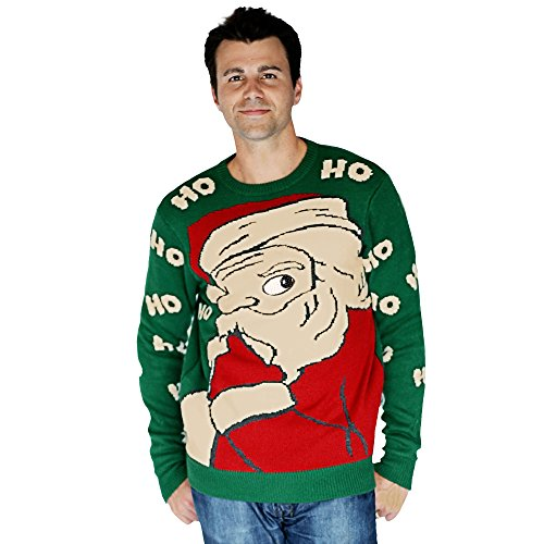Digital Dudz Peeking Santa Ugly Christmas Sweater, Green, Large