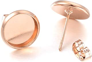 Rose Gold 50PCS Earring Stud with Round Bezel,Brass Filled,fit 8mm Round cabochons