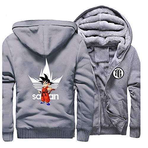 GuiSoHnh Homme Hiver Sweats à Capuche Epaisse Chaud Veste à Capuche Manteaux Manches Longues Blousons Hoodie Anime Dragon Ball Z Imprimé Sweatshirts M