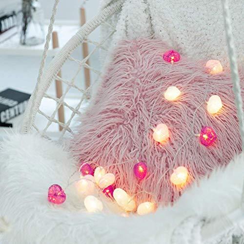 WYDM Guirnalda de Luces LED, Guirnalda de Luces en Forma de corazón, Guirnalda de Luces de algodón para decoración de Interiores de Dormitorio de casa de Fiesta (2M, 20LED)