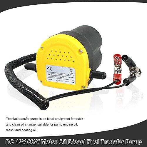 Pompa Aspirazione, KKmoon Pompa Estrattore per Aspirazione Olio Motore e Gasolio 60W DC 12V, Pompa di Trasferimento Diesel per Estrazione Olio Fluido Moto