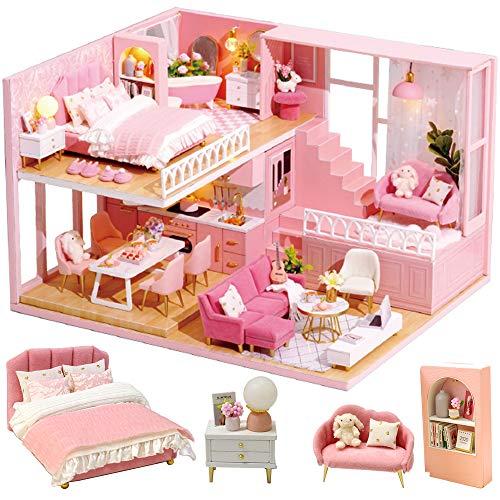 CuteBee DIY木製ドールハウス、Warm Hours 、ミニチュアコレクション、LEDライト、オルゴール、プレゼント、電池AAA*2必要 (L-030)