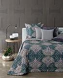 Caleffi Tagesdecke, gesteppt, für Doppelbett, tropisch, Farbe Natur, 260 x 270 cm