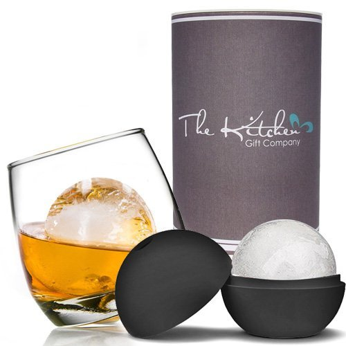 Rocking Whiskey Glass & Mega Ice Ball Mould Set - A Unique and Cool Bar Gift Set for Any Liquor Lover