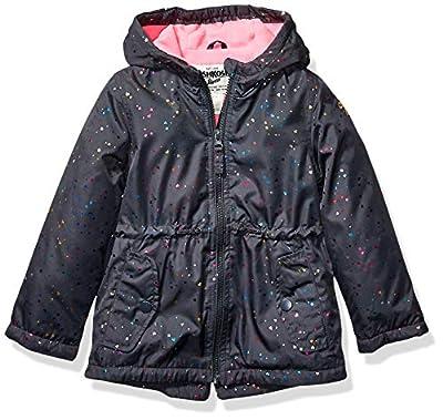 Osh Kosh Baby Girls Midweight Fleece-Lined Anorak, Hearts On Gray, 24Mo