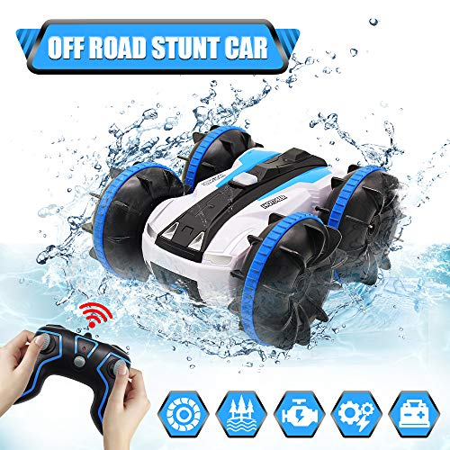 Car Toys for 5-10 Year Old Boys Girls Amphibious Remote Control Car for Kids 2.4 GHz Remote Control Boat 4WD Off Road Monster Truck Stunt Car Waterproof RC Car for Christmas Birthday Gifts Blue