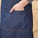 Aivtalk Kochbegeisterte Frauen Schürze Baumwolle Denim Kochschürze Küchenschürze Grillschürze Latzschürze Ärmellose Damen Schürze mit Taschen 71 * 65cm Denim Blau - 5