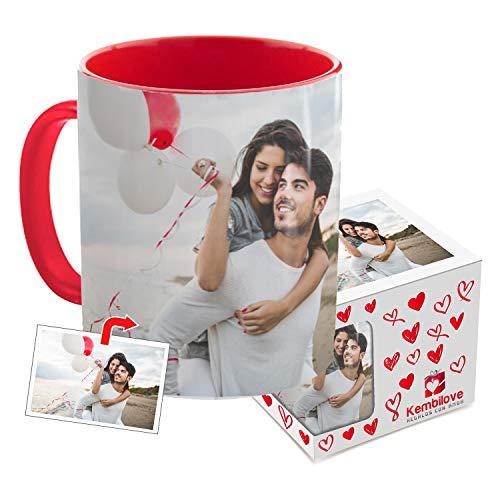 Kembilove Taza de Desayuno Personalizada con Foto - Regalo Original Personalizado con Foto - Tazas Personalizadas con el Interior en Color Rojo - Regalo para Cumpleaños, Aniversarios, Eventos