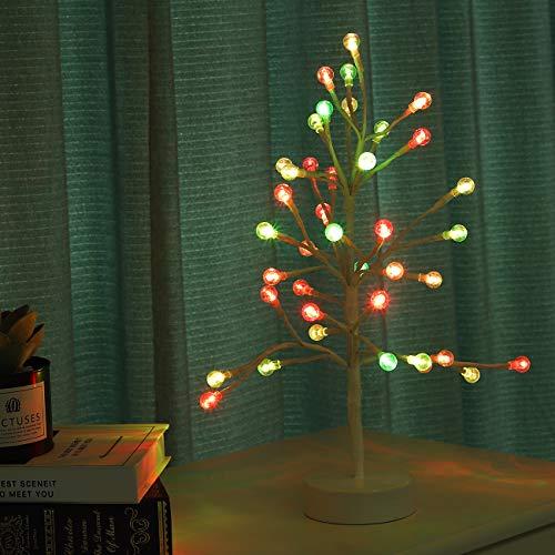 Lewondr LED Luz de Bonsái de Árbol, [45CM, 40 Bombillas] Lámpara Decorativa de Noche con Forma de Fruta sobre Mesa, Funciona con Pilas, Decoración para Sala de Estar, Domitorio - Fruta RGB Colorida