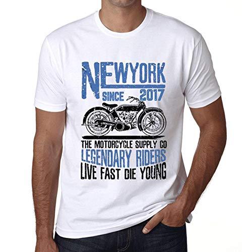 Hombre Camiseta Vintage T-Shirt Gráfico New York Motorcycle Since 2017 Blanco