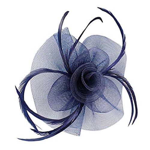 Inzopo Tocado de plumas de red de flores clip de boda damas...