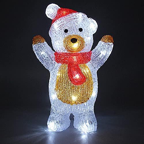 Deuba LED Acryl Figur Weihnachtsdeko Teddy beleuchtet Weihnachten Deko Indoor Outdoor Weihnachtsfiguren