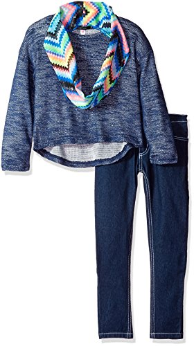 Kensie Little Girls' Toddler Off the Shoulder Sweater with Infinity Scarf and Stretch Jean, Dark Blue Denim, 2T