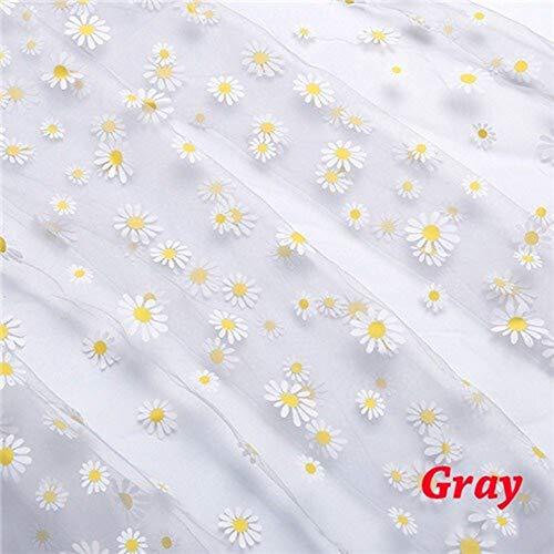 Heren Wedding and Decoration Daisy Printing Organza Fabric 160cm Width for Girls Summer Dress Princess Dress Handmade DIY Curtain Clothing Decoration Fabric (Color : Gray)
