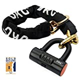 OKG New Vision Bike Chain Locks Moped Chain Lock Motorcycle Anti Theft Lock with 12mm Chain and 16mm U Shackle Lock 2.6ft, 8lbs Security Chain Lock for Bikes, Mopeds, Scooters and Motorcycles