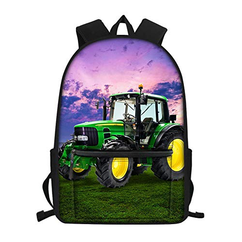 3D-Druck, Lila Himmel, landwirtschaftliche Maschinen, Traktor, Rasen Schultasche,Kindergarten Schultaschen, Kinder Schultaschen, Jugend Laptop Rucksäcke