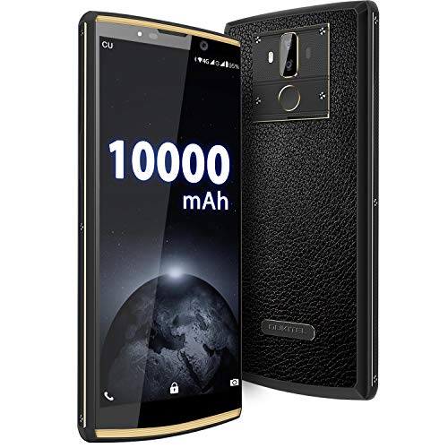 OUKITEL K7 Pro 10000mAh Smartphone ohne Vertrag, Android 9.0 4G Dual SIM Handy, Helio P23 Octa-Core 4GB + 64GB, 6 Zoll Display, 18W Fast Charge, Fingerabdruckerkennung/Face ID OTG Leder Design