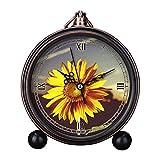 girlsight Art Retro - Reloj despertador para sala de estar decorativo, fácil de leer, cuarzo, analógico, mesa de noche, mesa de noche, reloj despertador, diseño floral, color amarillo
