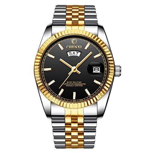 XLORDX Herren Armbanduhr Wasserdicht Woche Datum Analog Quarz Gold Uhr mit Edelstahl Schwarz
