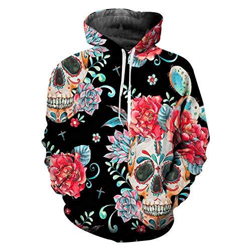WZYDWY 3D Print Schädel Rose Oversize Hoodies Pullover Bekleidung Sweat Homme Hooded Homme Sweatshirt Herren Langarm Street Wear
